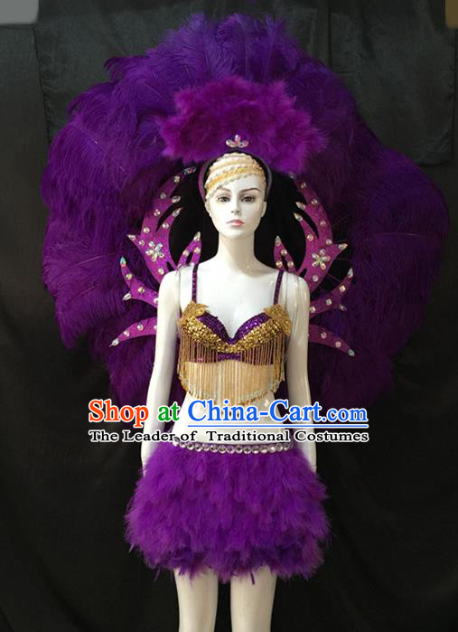 Top Grade Brazilian Carnival Samba Dance Costumes Halloween Miami Catwalks Purple Feather Swimsuit and Wings for Women