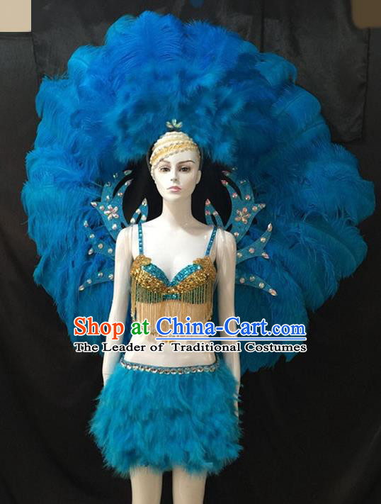 Top Grade Brazilian Carnival Samba Dance Costumes Halloween Miami Catwalks Blue Feather Swimsuit and Wings for Women