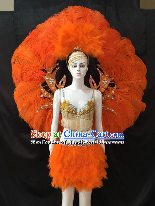 Top Grade Brazilian Carnival Samba Dance Costumes Halloween Miami Catwalks Orange Feather Swimsuit and Wings for Women