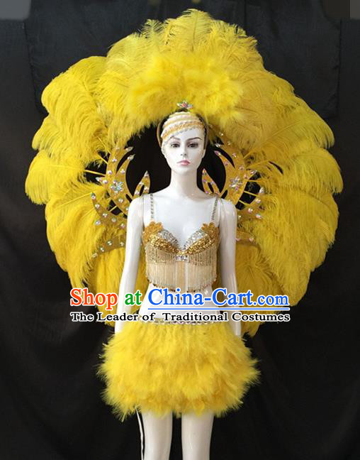 Top Grade Brazilian Carnival Samba Dance Costumes Halloween Miami Catwalks Yellow Feather Swimsuit and Wings for Women