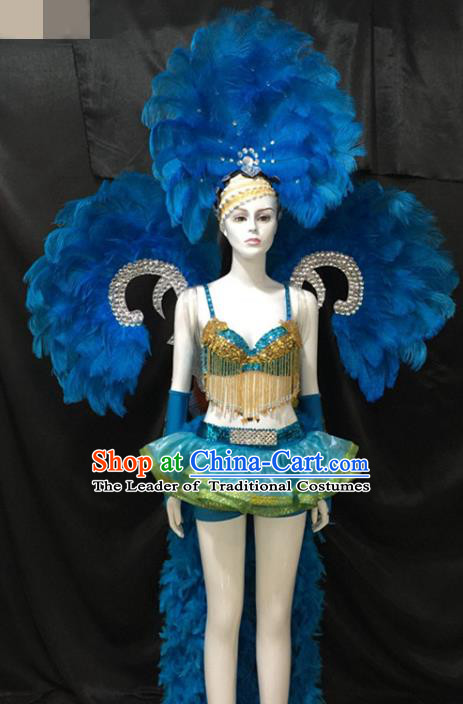 Top Grade Brazilian Carnival Samba Dance Costumes Halloween Miami Catwalks Feather Swimsuit Headwear and Wings for Women
