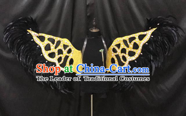 Top Grade Halloween Catwalks Props Brazilian Carnival Samba Dance Black Feather Wings for Kids