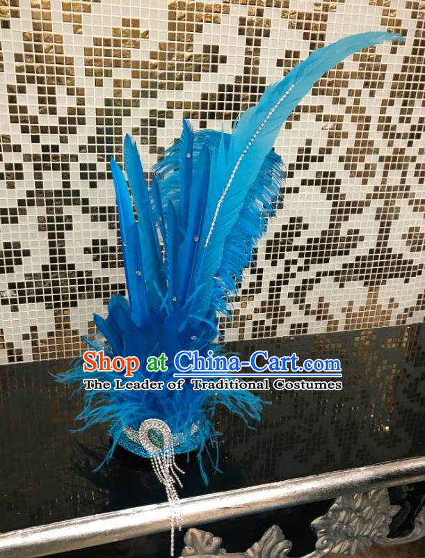 Brazilian Carnival Samba Dance Hair Accessories Miami Blue Feathers Deluxe Headdress for Kids