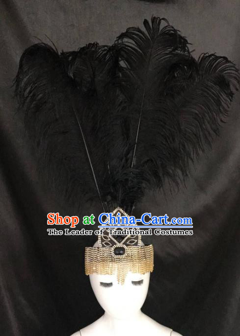 Brazilian Carnival Samba Dance Hair Accessories Miami Deluxe Crystal Black Feather Headdress for Kids
