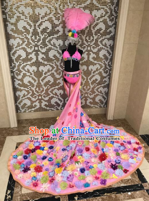 Children Catwalks Costume Modern Dance Swimsuit Pink Trailing Full Dress and Feather Hair Accessories for Kids