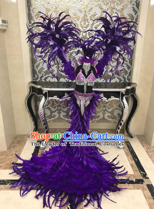 Children Catwalks Costume Modern Dance Purple Feather Swimsuit and Angel Wings for Kids