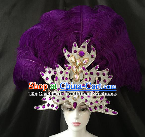 Brazilian Carnival Samba Dance Hair Accessories Dionysia Catwalks Purple Feather Headdress for Women