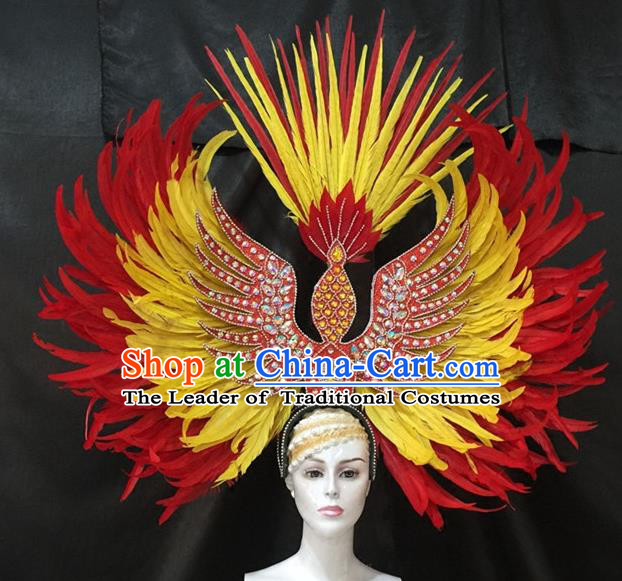 Brazilian Carnival Samba Dance Hair Accessories Dionysia Catwalks Red and Yellow Feather Headdress for Women
