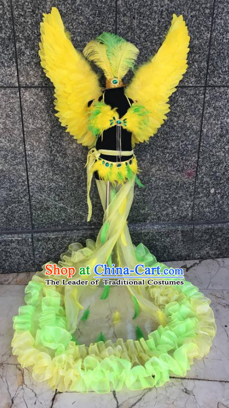 Top Grade Brazilian Carnival Costumes Halloween Catwalks Yellow Feather Swimsuit and Hair Accessories for Kids