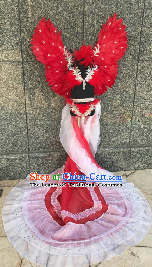 Top Grade Brazilian Carnival Costumes Halloween Catwalks Red Feather Swimsuit and Hair Accessories for Kids