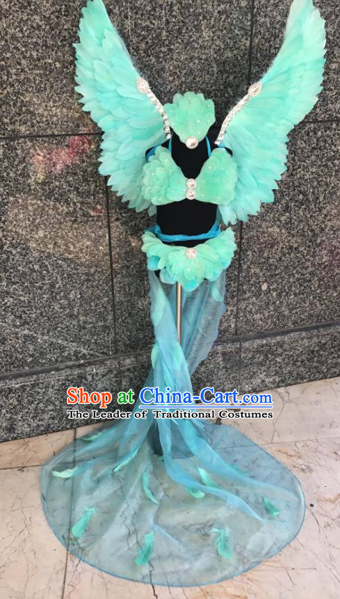 Top Grade Brazilian Carnival Costumes Halloween Catwalks Green Feather Swimsuit and Hair Accessories for Kids