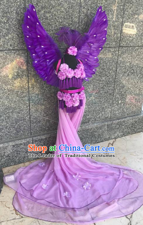 Top Grade Brazilian Carnival Costumes Halloween Catwalks Purple Feather Swimsuit and Hair Accessories for Kids