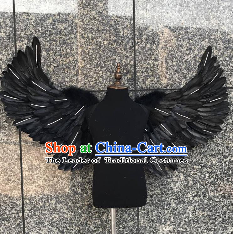Top Grade Samba Dance Props Brazilian Carnival Catwalks Black Feather Wings for Kids