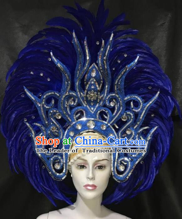 Brazilian Carnival Samba Dance Hair Accessories Dionysia Catwalks Royalblue Feather Headdress for Women