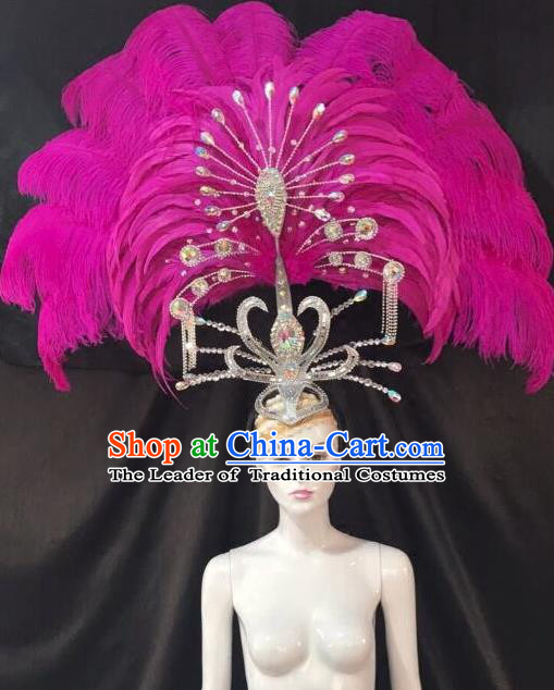 Brazilian Carnival Samba Dance Deluxe Hair Accessories Dionysia Miami Catwalks Rosy Feather Headdress for Women