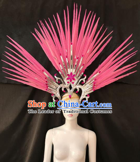 Pink Feather Brazilian Carnival Samba Dance Hair Accessories Dionysia Miami Catwalks Headdress for Women