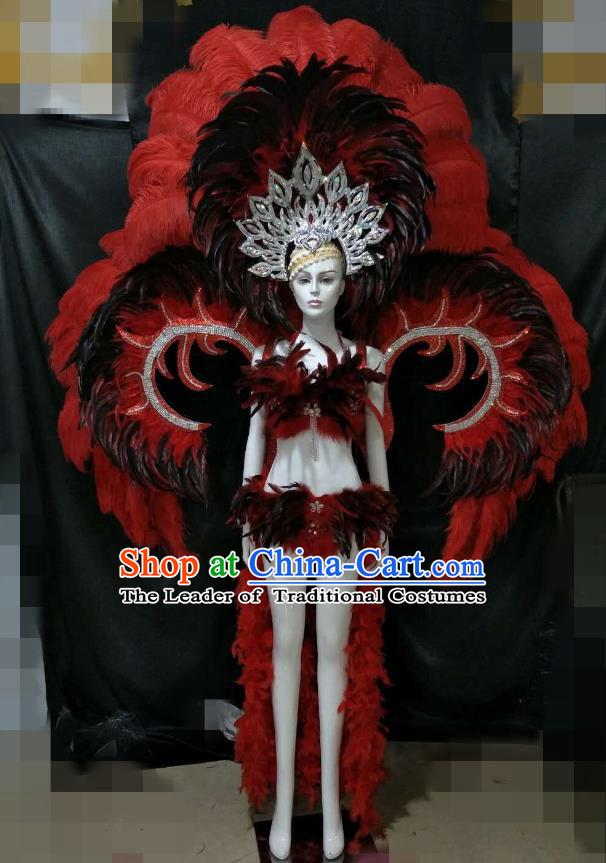 Red Feather Brazilian Rio Carnival Costumes Halloween Catwalks Swimsuit and Deluxe Feather Wings Headwear for Women