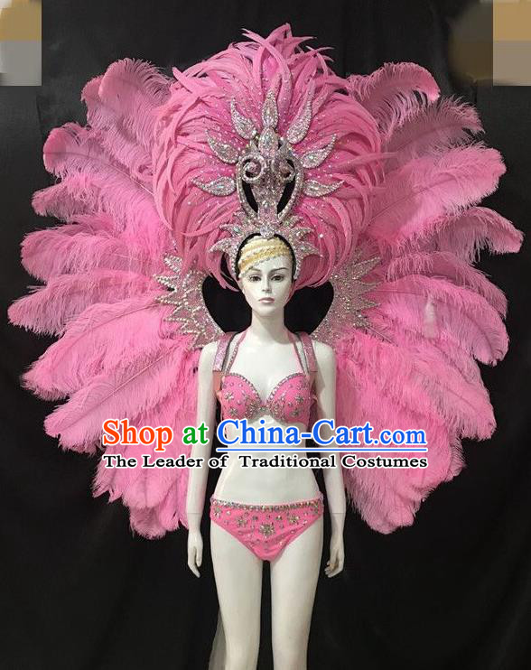 Brazilian Rio Carnival Pink Feather Costumes Halloween Catwalks Swimsuit and Deluxe Feather Wings Headwear for Women