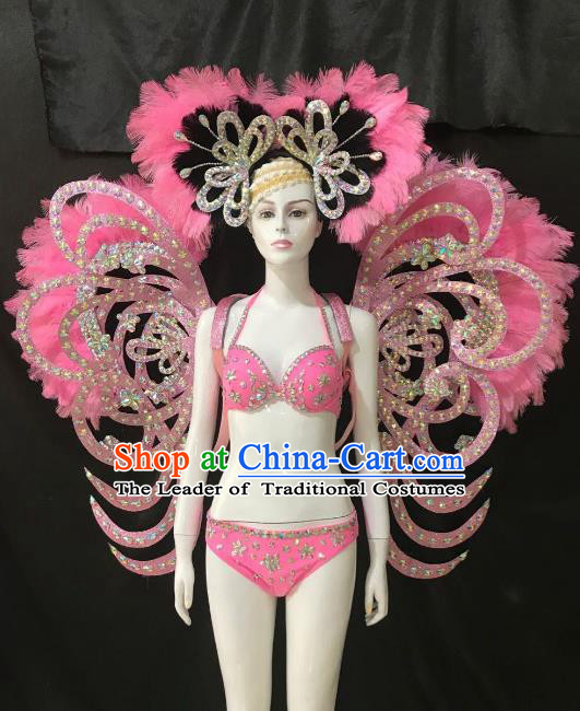 Brazilian Rio Carnival Samba Dance Costumes Halloween Catwalks Swimsuit and Pink Feather Wings Headwear for Women