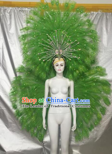 Brazilian Catwalks Samba Dance Props Rio Carnival Green Feather Angel Wings and Headwear for Women