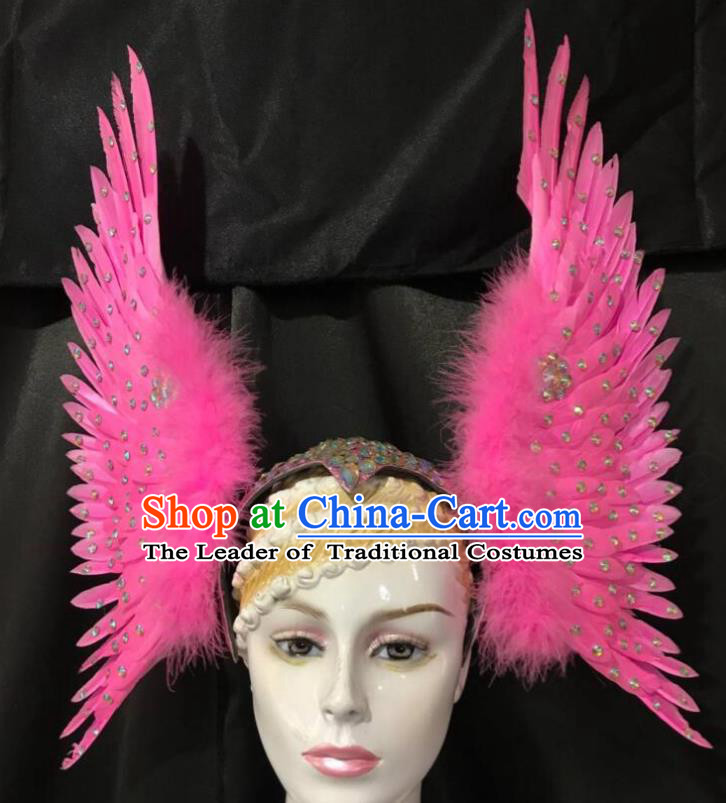 Brazilian Rio Carnival Dance Pink Ostrich Feather Hair Accessories Dionysia Samba Catwalks Headdress for Women