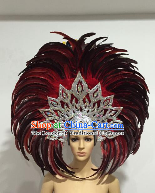 Brazilian Samba Dance Red and Black Feather Hair Accessories Rio Carnival Roman Deluxe Headwear for Women