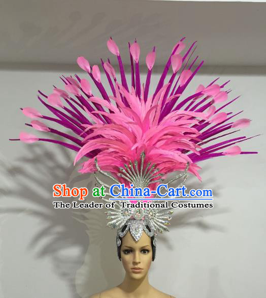 Brazilian Samba Dance Pink and Rosy Feather Hair Accessories Rio Carnival Roman Deluxe Headwear for Women
