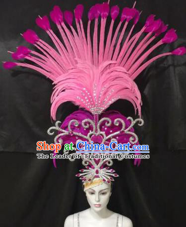 Brazilian Samba Dance Queen Hair Accessories Rio Carnival Roman Pink Feather Deluxe Headwear for Women