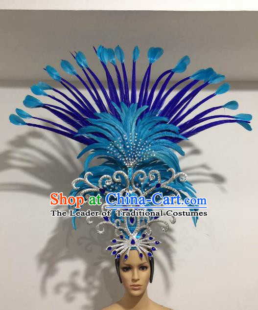 Brazilian Samba Dance Queen Hair Accessories Rio Carnival Roman Blue Feather Deluxe Headwear for Women