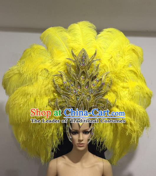 Brazilian Samba Dance Queen Hair Accessories Rio Carnival Roman Yellow Feather Deluxe Headwear for Women