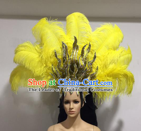 Brazilian Samba Dance Queen Hair Accessories Rio Carnival Yellow Feather Deluxe Headwear for Women