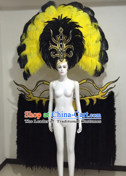 Brazilian Catwalks Samba Dance Props Rio Carnival Black and Yellow Feather Angel Wings and Headwear for Women