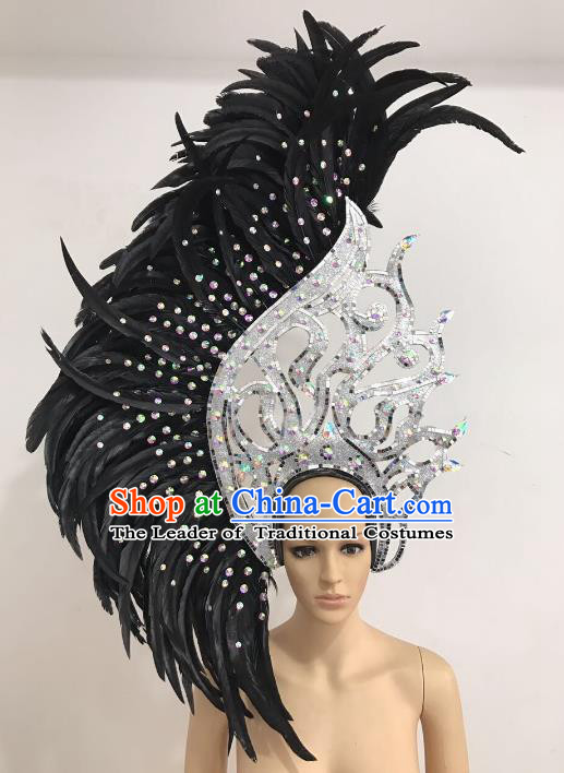 Brazilian Carnival Catwalks Hair Accessories Rio Samba Dance Black Ostrich Feather Deluxe Headwear for Women