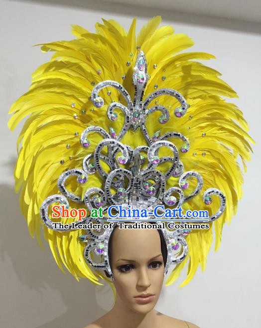 Brazilian Carnival Catwalks Hair Accessories Rio Samba Dance Yellow Ostrich Feather Deluxe Headwear for Women
