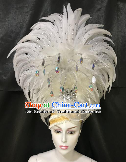 Brazilian Rio De Janeiro Carnival White Feather Hair Accessories Samba Dance Catwalks Headdress for Women