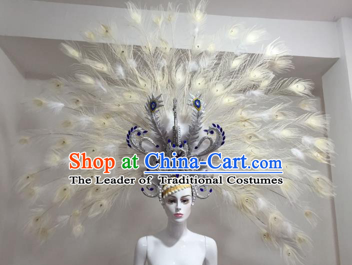 Top Grade Samba Dance Props Brazilian Carnival Catwalks White Feather Wings for Kids