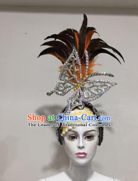 Brazilian Samba Dance Feather Hair Accessories Rio Carnival Catwalks Queen Butterfly Deluxe Headwear for Women