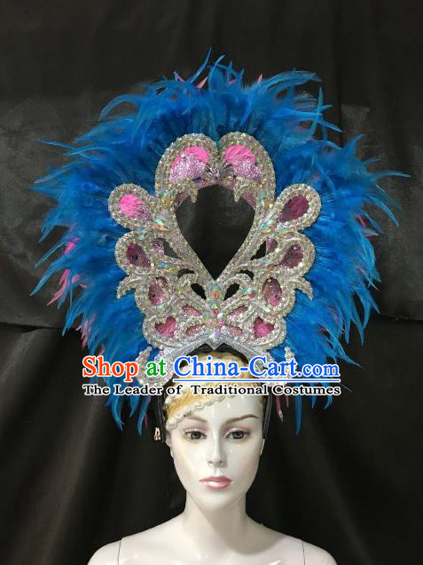 Brazilian Rio De Janeiro Carnival Blue and Pink Feather Hair Accessories Samba Dance Catwalks Headdress for Women