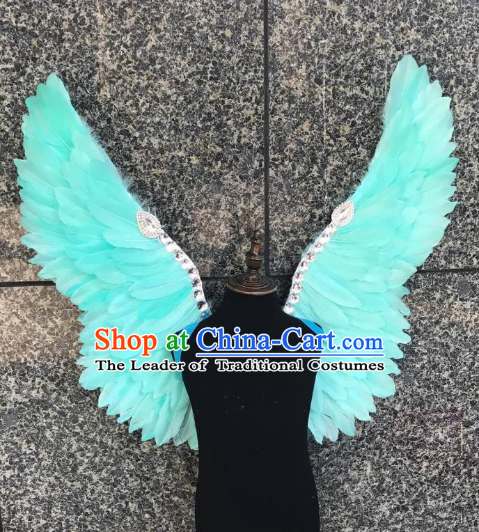Top Grade Samba Dance Props Brazilian Carnival Catwalks Green Feather Wings for Kids