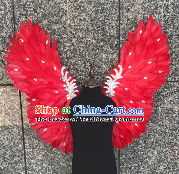 Top Grade Samba Dance Props Brazilian Carnival Catwalks Red Butterfly Feather Wings for Kids