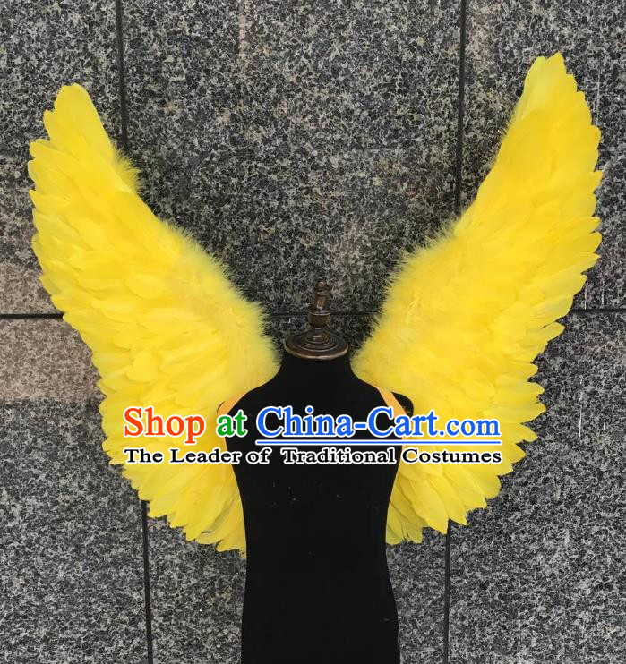 Top Grade Samba Dance Props Brazilian Carnival Catwalks Yellow Butterfly Feather Wings for Kids