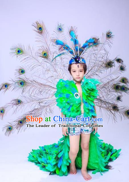 Brazilian Rio Carnival Samba Dance Costumes Halloween Catwalks Peacock Trailing Swimsuit and Headwear for Kids