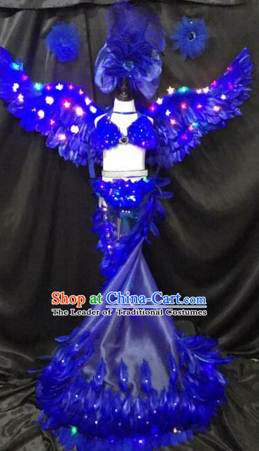 Brazilian Rio Carnival Samba Dance Costumes Halloween Catwalks Blue Feather LED Trailing Swimsuit and Headwear for Kids