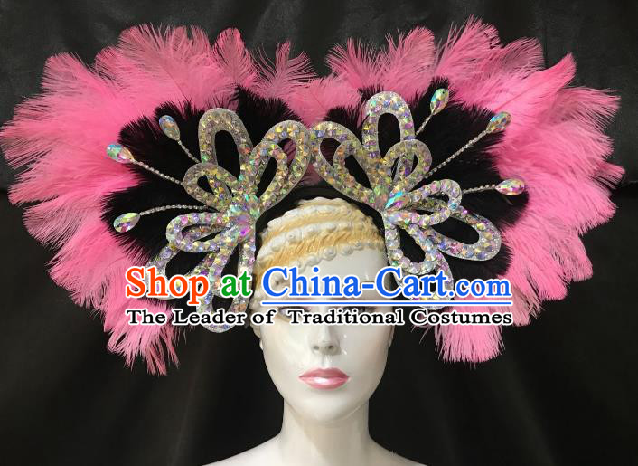 Brazilian Rio De Janeiro Carnival Hair Accessories Samba Victorian Dance Pink and Black Feather Hats for Women