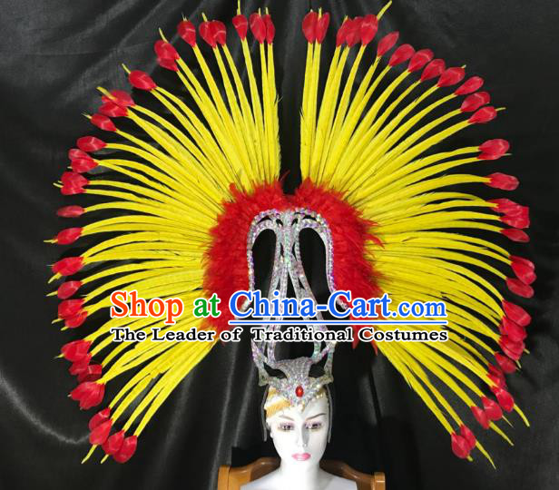 Brazilian Rio De Janeiro Carnival Yellow Feather Deluxe Hair Accessories Samba Victorian Dance Hats for Women