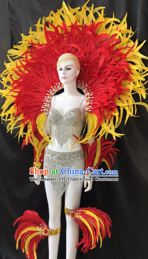 Brazilian Rio Carnival Samba Dance Feather Costumes Halloween Catwalks Deluxe Feather Swimsuit and Wings for Women