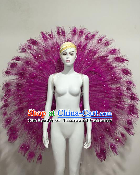 Top Grade Brazilian Samba Dance Props Rio Carnival Purple Feather Angel Wings for Women