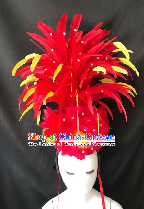 Brazilian Rio De Janeiro Carnival Feather Hair Accessories Samba Dance Catwalks Headdress for Kids