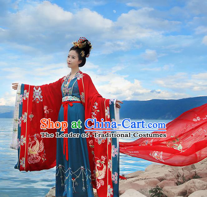 Chinese Ancient Bride Embroidered Costume Tang Dynasty Empress Wedding Hanfu Dress and Headpiece Jewelry for Palace Women