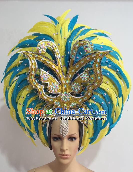 Brazilian Carnival Catwalks Ostrich Feather Hair Accessories Rio Samba Dance Yellow and Blue Feather Deluxe Headwear for Women